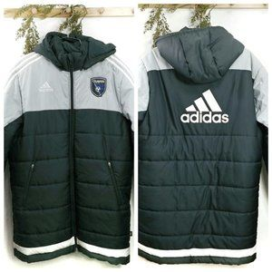 San Jose Quakes MLS Parka Coat Size L adidas